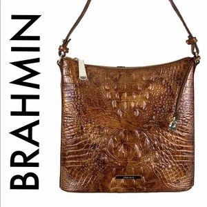 BRAHMIN NWT GOLDEN BROWN LEATHER CROSSBODY BAG